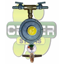 Regulador Registro De Gás Duplo Saídas C/ Manômetro + Brinde