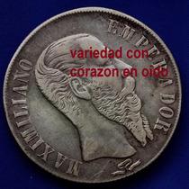 Moneda $1 Maximiliano 1866 San Luis Potosi Variedad Corazon