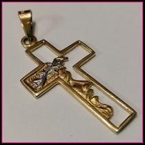 Dije Cruz Con Rostro De Cristo En Oro 10k Solido Amarillo