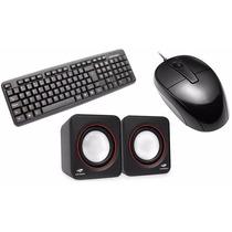 Kit Multimídia Pc Teclado Mouse Usb Caixa Som 3w Rms
