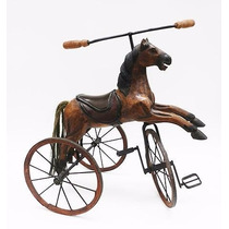 Triciclo Tico Tico Com Cavalo Em Madeira Original Década 40