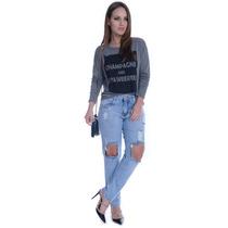 Calça Jeans Boyfriend Destroyed - Kam Bess - Cl0336