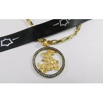 Pingente São Jorge Cravejado Diamantes Ouro 18k