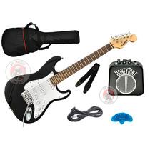 Combo Guitarra Electrica Leonard Stratocaster Mediana Niños