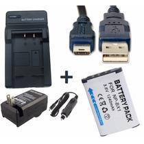 Kit Bateria Np-bx1 + Carregador + Cabo Usb P/ Sony Dsc-h400