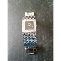 Relógio Fem Euro. Prateado E Strass. Tipo Bracelete.