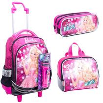 Kit Mochila Barbie Rockn Rosa Rodinhas + Lancheira - Sestini