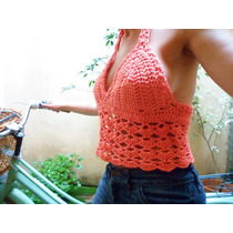 Top Crop Tejido Al Crochet