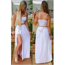 Vestido Roupas Feminina S/renda Conjunto Croped C/short Saia