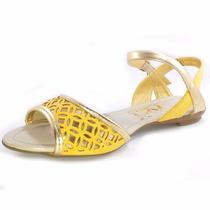 Sandália Rasteirinha Dourada Com Amarelo Ravelle F009
