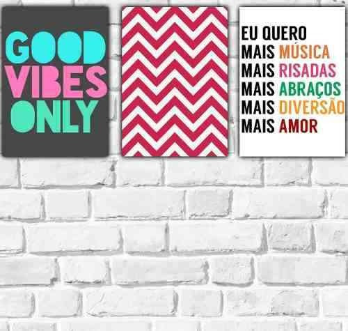 Kit 3 Placas Decorativas Frases Tumblr Good Vibes Unicornio R 76