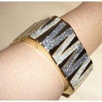Pulseira Bracelete Dourado Quadrado Dois Tons Cinza