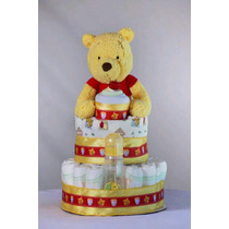 Pastel Pañales Pooh Baby Shower