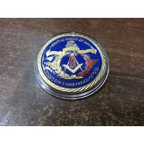 Mason Hermosa Medalla Masónica 1 Onza Esmaltada /baño De Oro