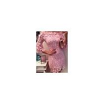 Vestido Acima Do Joelho Manga ¾ Decote Canoa Renda#03975473