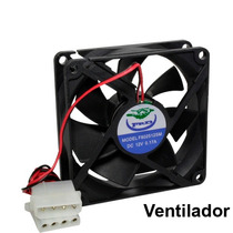 Ventilador 80 Mm Negro Conector Molex Incluye Tornillos