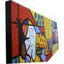Quadro Romero Brito - O Abraço- Pintado A Mão 160x60