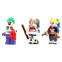 Lote De 3 Figuras Joker Harley Quinn Complatibles Con Lego
