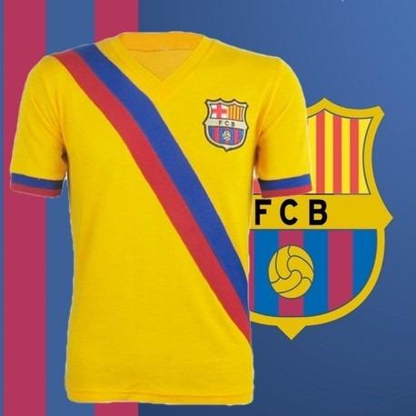 Camisa Retrô Barcelona Amarela Faixa - R  129 0d6d53970f788