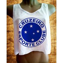 Camiseta Cruzeiro Feminina Blusa Regata Cavada Babylook Nova