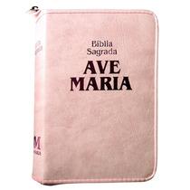 Bíblia Sagrada Feminina Católica Ave Maria Rosa Média Mulher