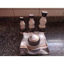 Trio De Vasos E Prato C Bola Decorativo Cerâmica Linda Peças