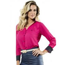 Camisa Social Feminina Anabel Rosa De Crepe