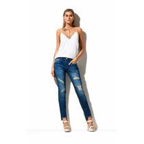 Calça Jeans Feminina Skinny Assimétrica Morena Rosa