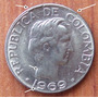 Moneda Colombia 10 Centavos 1969 Error Rim Cud And Die Crack