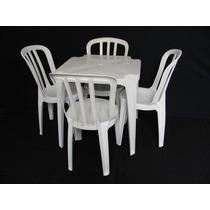 5 Jogos De Mesas+20 Cadeiras Brancas De Plástico Empilháveis