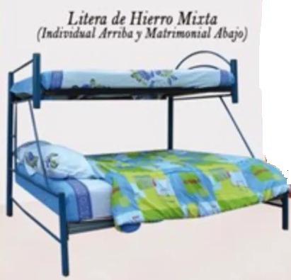Cama Litera Matrimonial E Individual De Hierro Bs 001 En Mercado