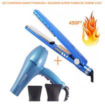 Kit Chapinha Nano Titanium + Secador Profissional 2500w 110v