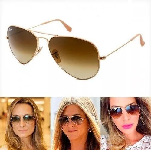 Óculos Ray-ban Aviador 3025 P E 3026 M Lente Em Cristal - R  74,99 em  Mercado Livre 8fc0b45749