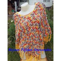 Poncho De Hilo Al Crochet - Reynas Tejidos Artesanales