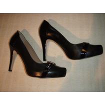Zapatos Gacel De Cuero Y Terraplén N º 40.negros.