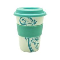 Vaso Ceramica Decorado Banda/tapa Silicon Azul Good And Good
