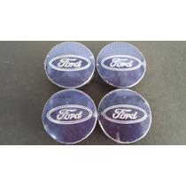 Jogo Calotinha Centro Da Roda Ford Focus Azul 55mm