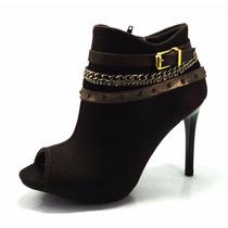 Bota Coturno Ankle Boots Fem Crysalis Dakota Salto Alto 2042