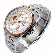 Ef-558d Relógio Casio Edifice Cronograph 100m Branco Rose