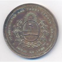 1885 Ferrocarril Andino Medalla Firmada Rosario Grande Rara