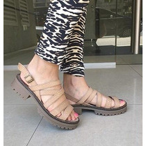 Sandalia Pamuk Color Nude De 6 Tiras Angostas. Modelo 22
