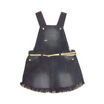 Salopete Jeans Preta Infantil Feminino Tamanho 2