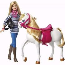 Boneca Barbie Com Cavalo Ponei Branco - Lançamento 2015