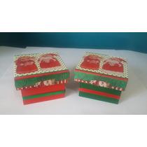 Caixa De Mdf Decorada De Natal - 2unid. - Tam. 5x7x7