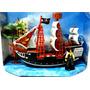 Barco Pirata Mediano Coleccionable Con Accesorios 26x21 Cm