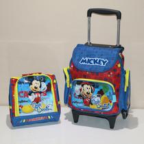 Kit Mochila Infantil Mickey Rodinha Pequena + Lancheira