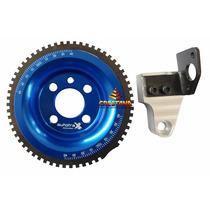 Polia Roda Fonica Dianteira Azul + Suporte Fusca Motor Ap