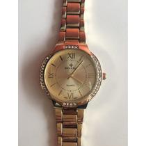 Relógio Bella Rose Dourado Com Strass