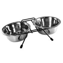 Comedouro Duplo Aço Inox Suporte Cães 750ml Western Pet-167