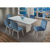 Conjunto Mesa + 6 Cadeiras Tampo De Vidro Branco